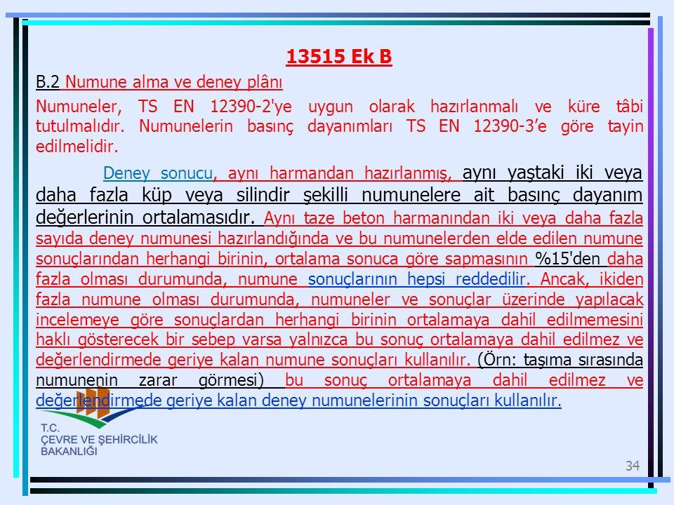 13515 Ek B B.2 Numune alma ve deney plânı