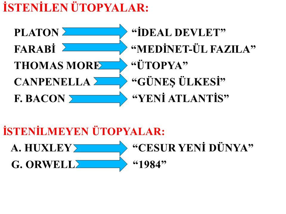 İSTENİLEN ÜTOPYALAR: PLATON İDEAL DEVLET FARABİ MEDİNET-ÜL FAZILA
