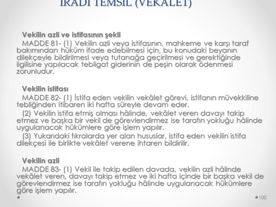 İRADİ TEMSİL (VEKALET)