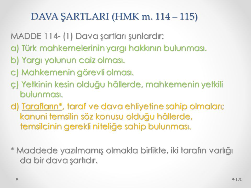 DAVA ŞARTLARI (HMK m. 114 – 115)