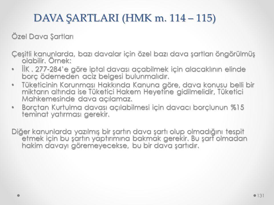 DAVA ŞARTLARI (HMK m. 114 – 115) Özel Dava Şartları