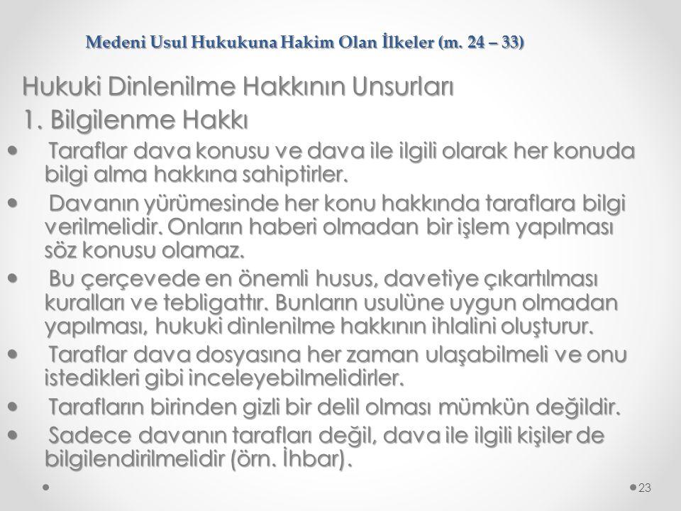 Medeni Usul Hukukuna Hakim Olan İlkeler (m. 24 – 33)