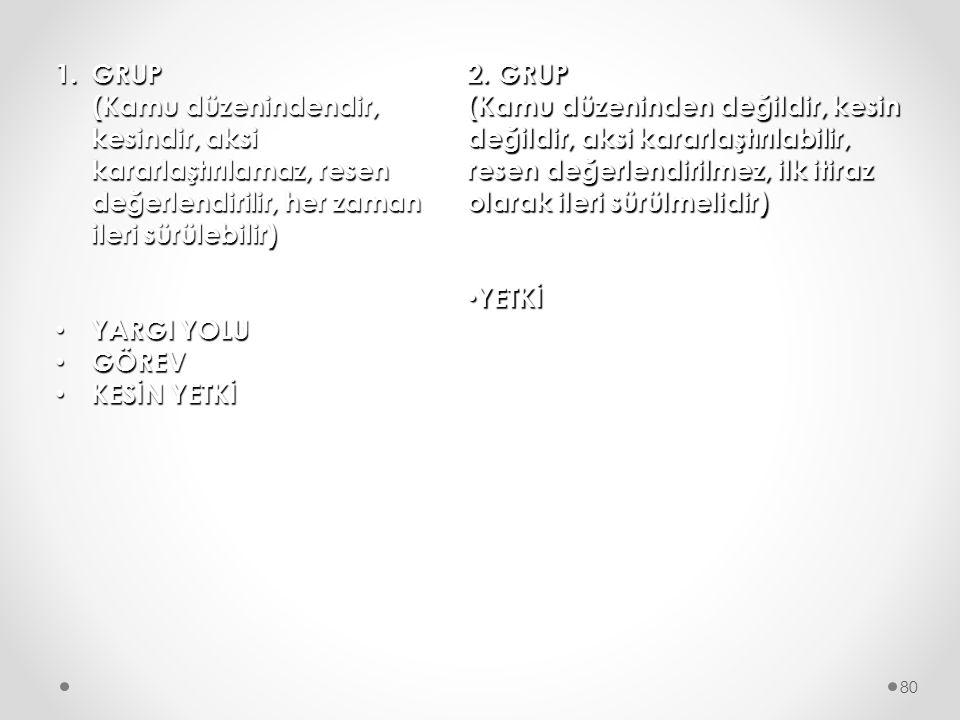 GRUP (Kamu düzenindendir, kesindir, aksi kararlaştırılamaz, resen değerlendirilir, her zaman ileri sürülebilir)