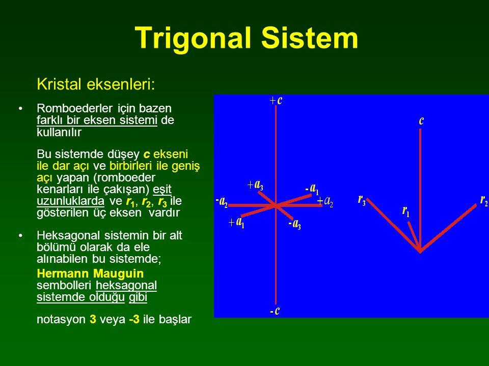 Trigonal Sistem Kristal eksenleri: