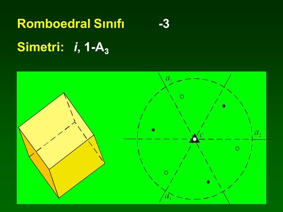 Romboedral Sınıfı -3 Simetri: i, 1-A3