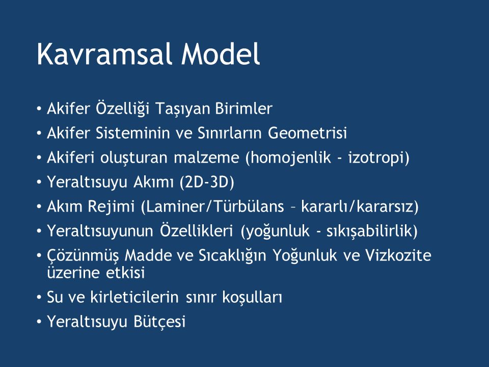 Kavramsal Model Akifer Özelliği Taşıyan Birimler