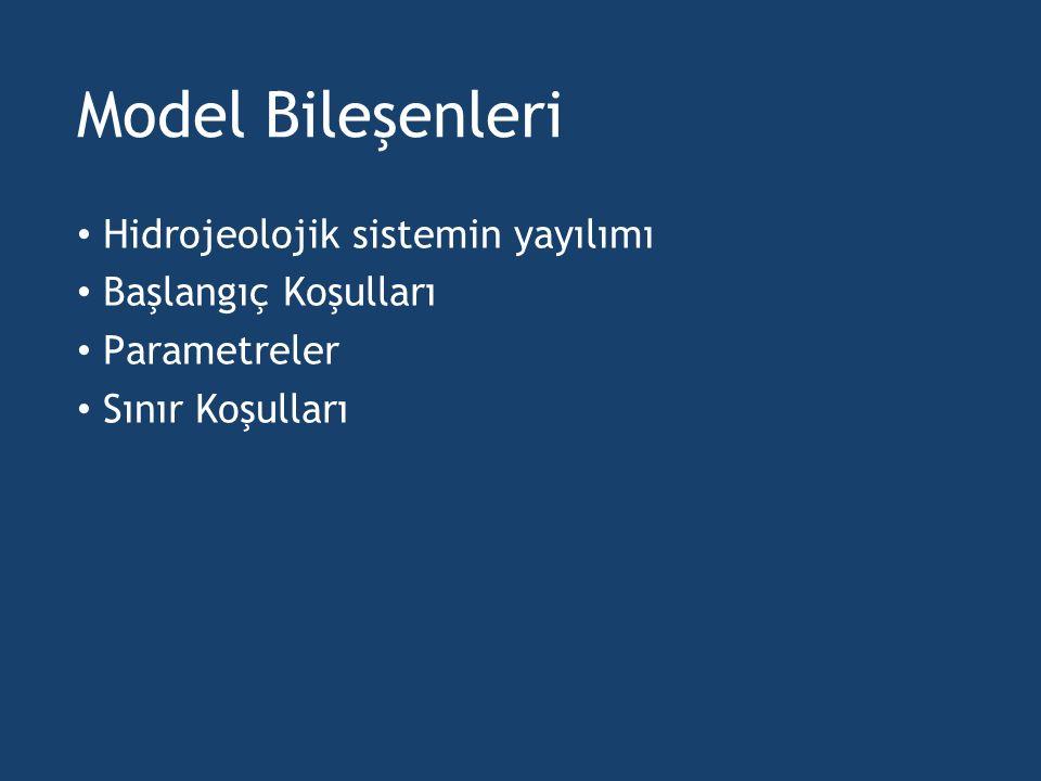 Model Bileşenleri Hidrojeolojik sistemin yayılımı Başlangıç Koşulları