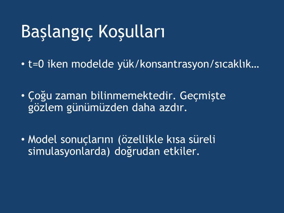 Başlangıç Koşulları t=0 iken modelde yük/konsantrasyon/sıcaklık…