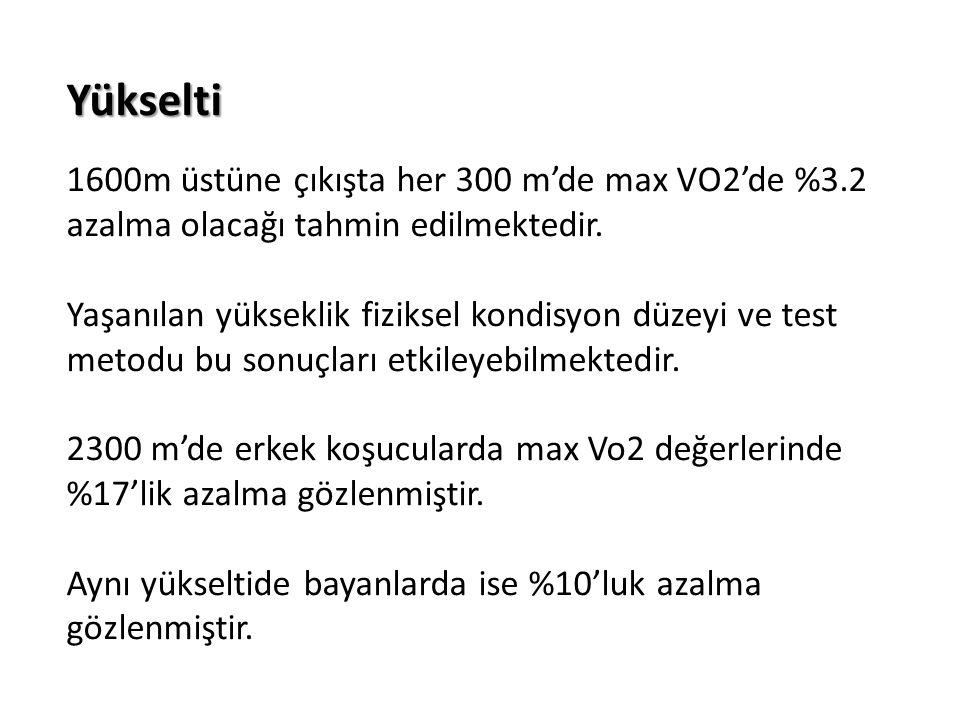 Yükselti 1600m üstüne çıkışta her 300 m'de max VO2'de %3.2 azalma olacağı tahmin edilmektedir.