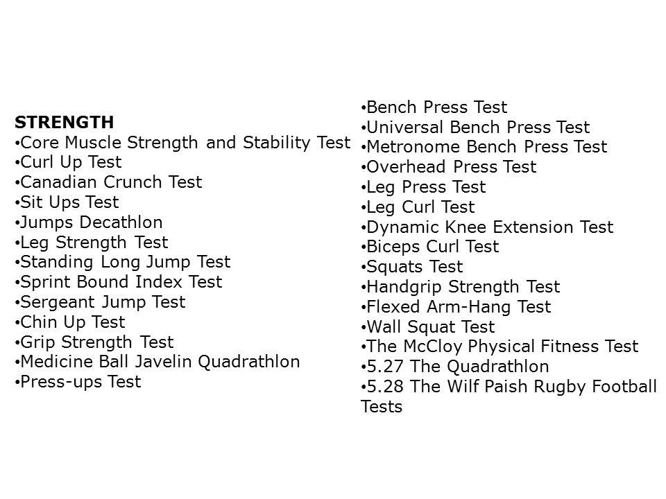Bench Press Test Universal Bench Press Test. Metronome Bench Press Test. Overhead Press Test. Leg Press Test.