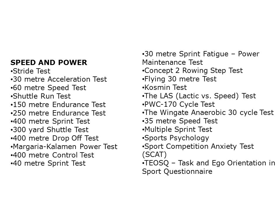 30 metre Sprint Fatigue – Power Maintenance Test