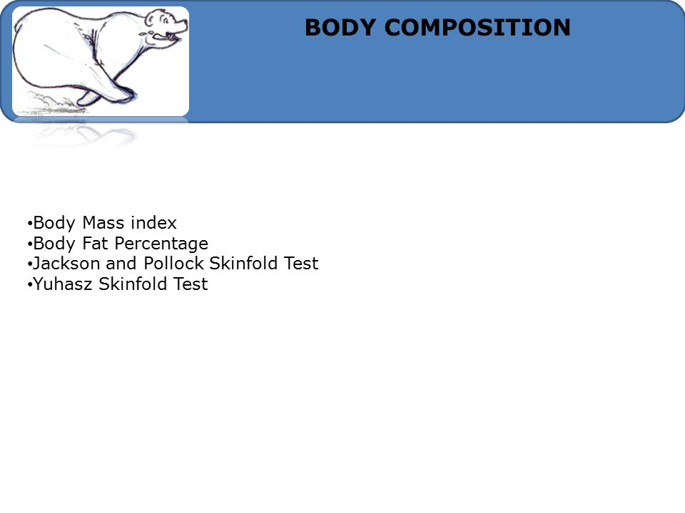 BODY COMPOSITION Body Mass index Body Fat Percentage