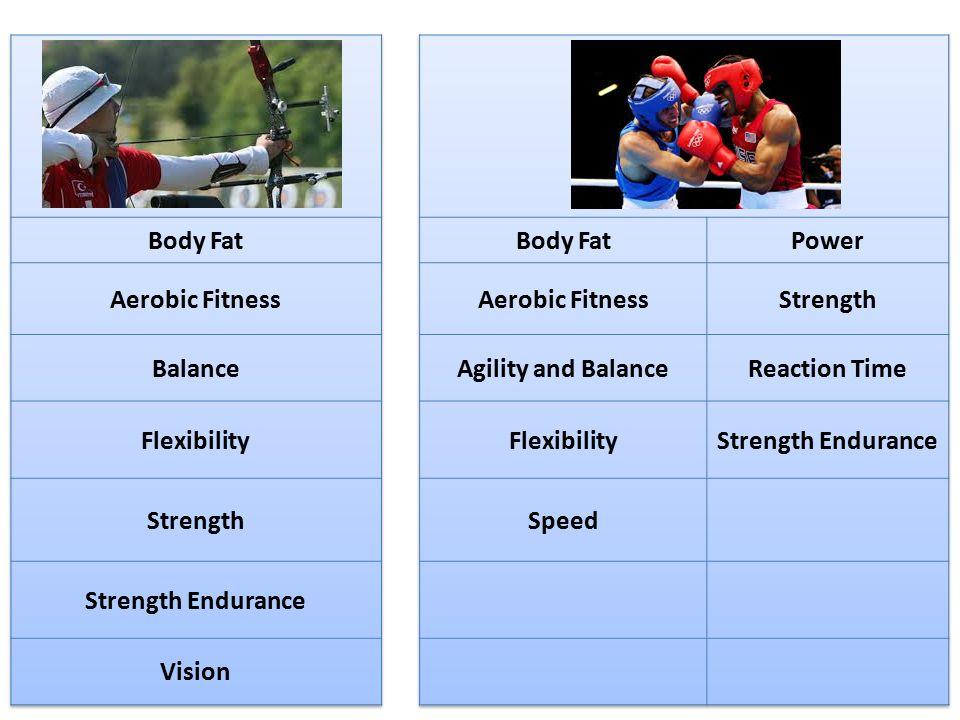 Body Fat Aerobic Fitness Balance Flexibility Strength