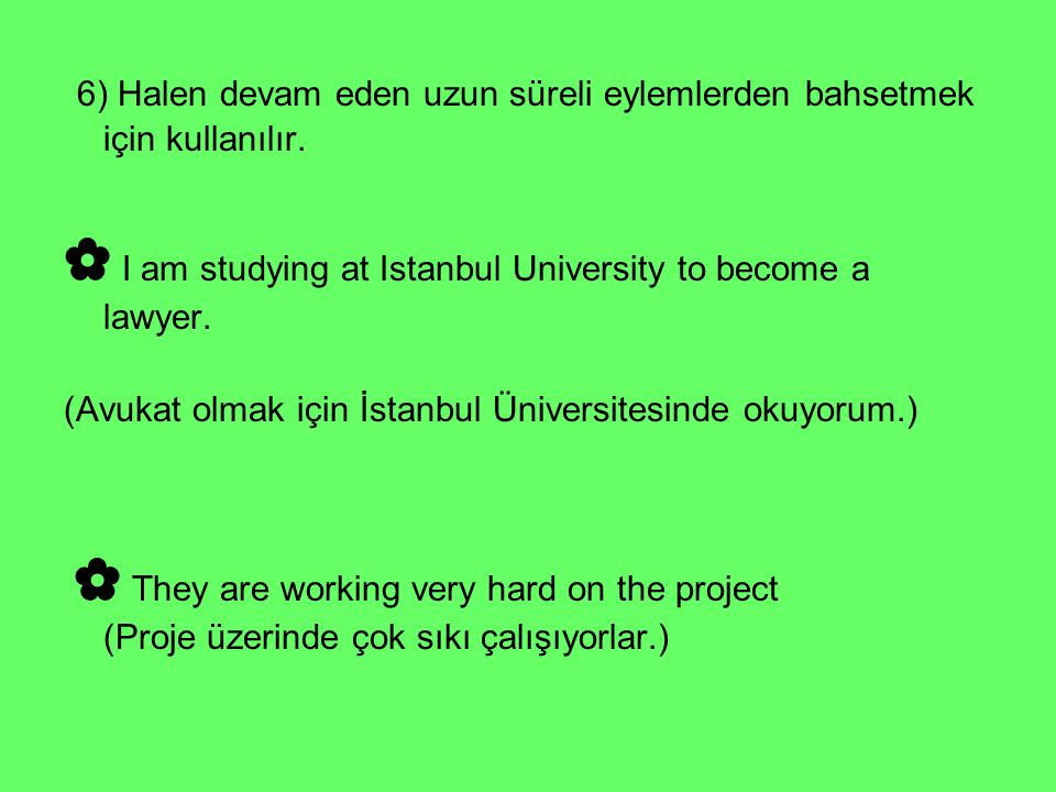 ✿ I am studying at Istanbul University to become a lawyer.