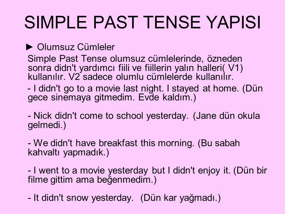 SIMPLE PAST TENSE YAPISI