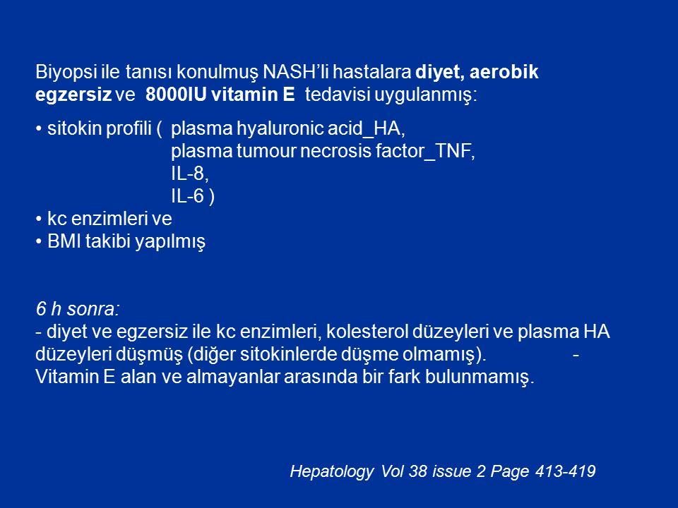 Biyopsi ile tanısı konulmuş NASH'li hastalara diyet, aerobik egzersiz ve 8000IU vitamin E tedavisi uygulanmış:
