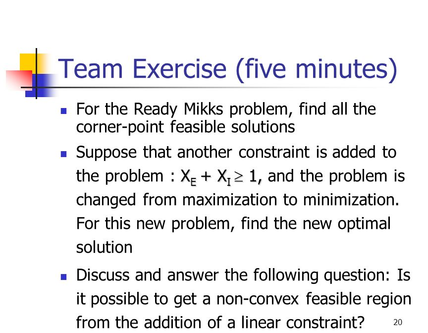Team Exercise (five minutes)