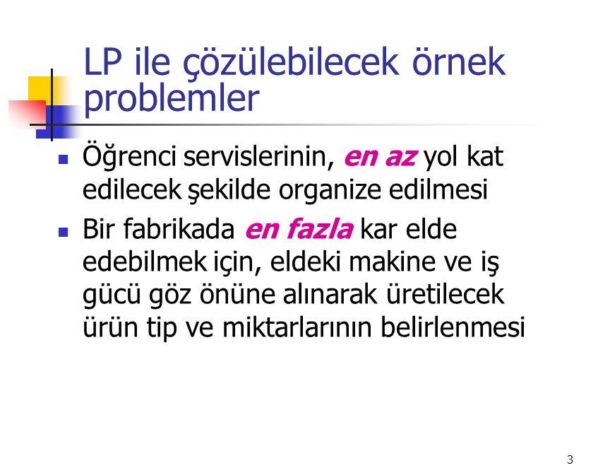 LP ile çözülebilecek örnek problemler