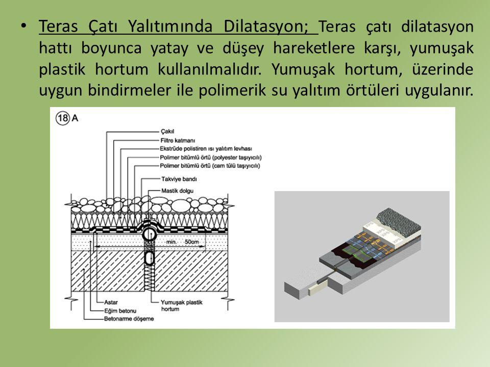 Teras Çatı Yalıtımında Dilatasyon; Teras çatı dilatasyon hattı boyunca yatay ve düşey hareketlere karşı, yumuşak plastik hortum kullanılmalıdır.