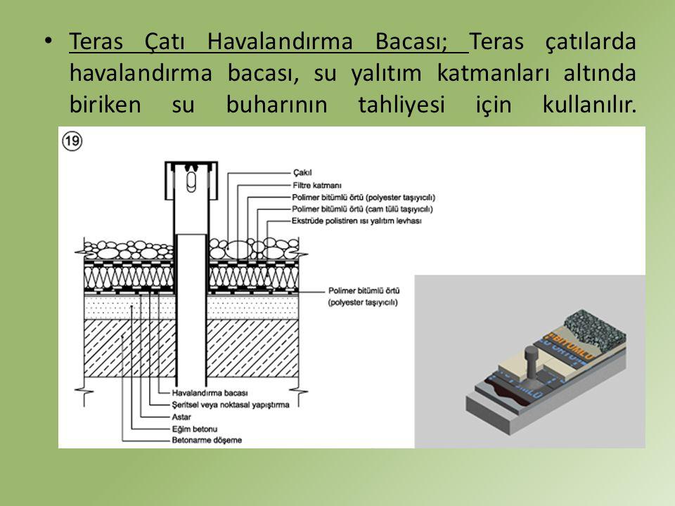 Teras Çatı Havalandırma Bacası; Teras çatılarda havalandırma bacası, su yalıtım katmanları altında biriken su buharının tahliyesi için kullanılır.