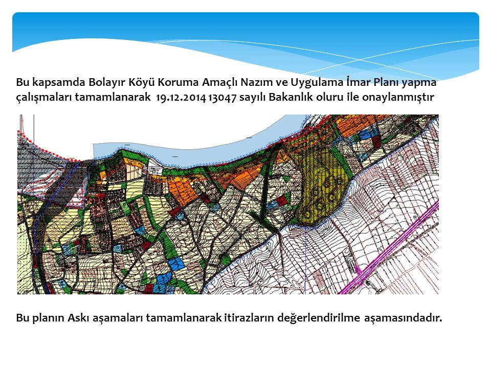 Bu kapsamda Bolayır Köyü Koruma Amaçlı Nazım ve Uygulama İmar Planı yapma çalışmaları tamamlanarak 19.12.2014 13047 sayılı Bakanlık oluru ile onaylanmıştır