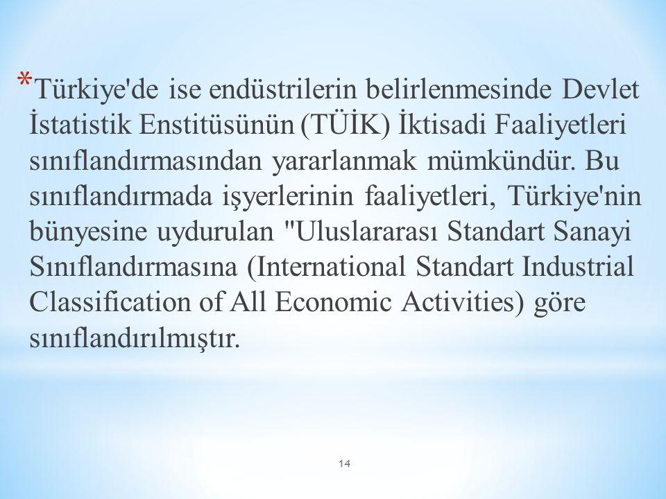 Türkiye de ise endüstrilerin belirlenmesinde Devlet İstatistik Enstitüsünün (TÜİK) İktisadi Faaliyetleri sınıflandırmasından yararlanmak mümkündür.