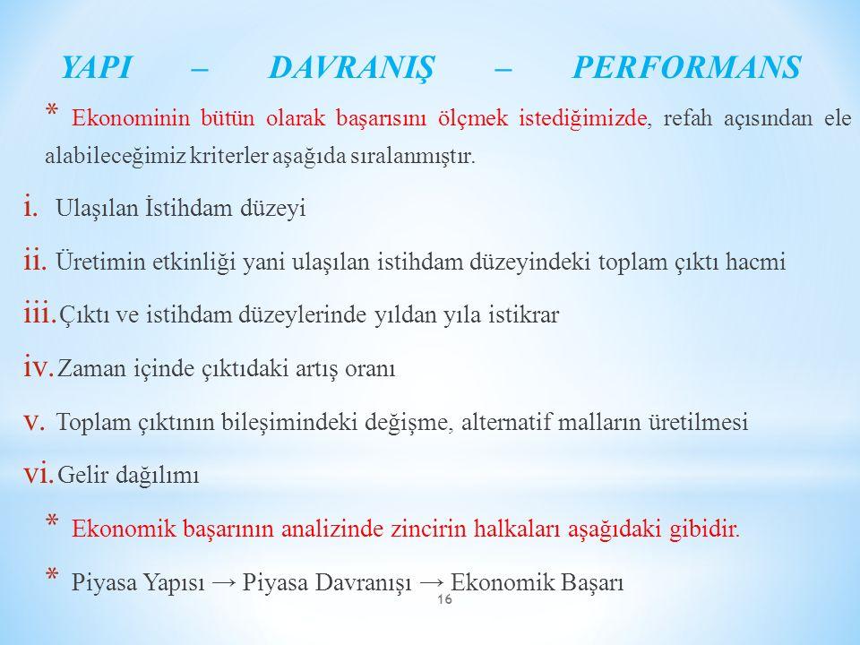 YAPI – DAVRANIŞ – PERFORMANS