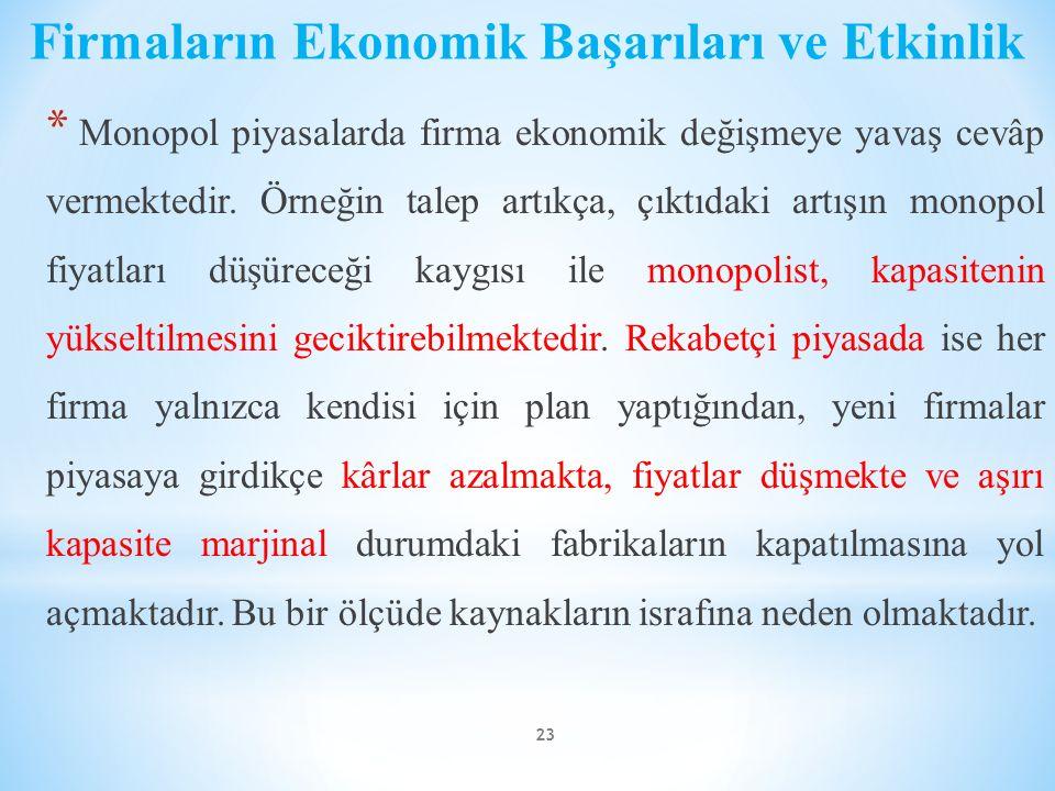 Firmaların Ekonomik Başarıları ve Etkinlik