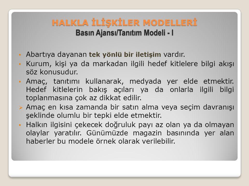 HALKLA İLİŞKİLER MODELLERİ Basın Ajansı/Tanıtım Modeli - I