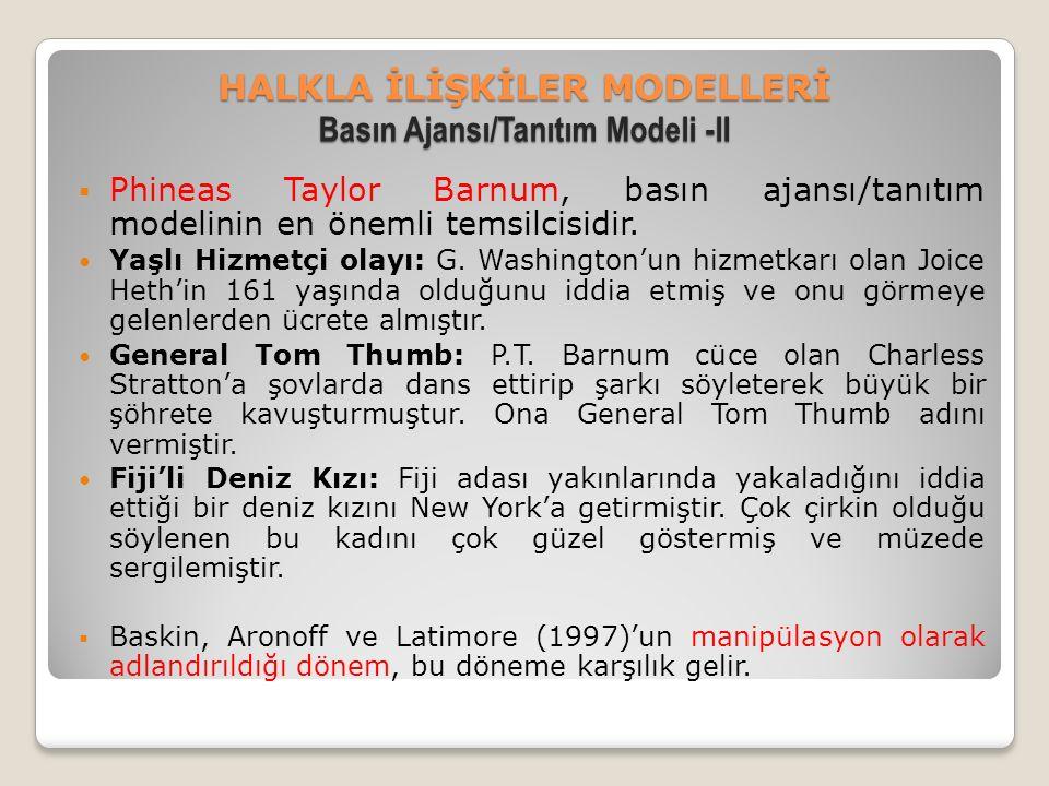 HALKLA İLİŞKİLER MODELLERİ Basın Ajansı/Tanıtım Modeli -II