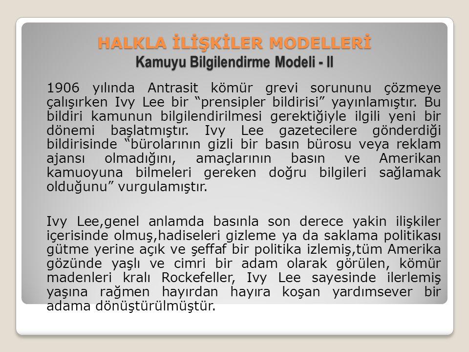 HALKLA İLİŞKİLER MODELLERİ Kamuyu Bilgilendirme Modeli - II