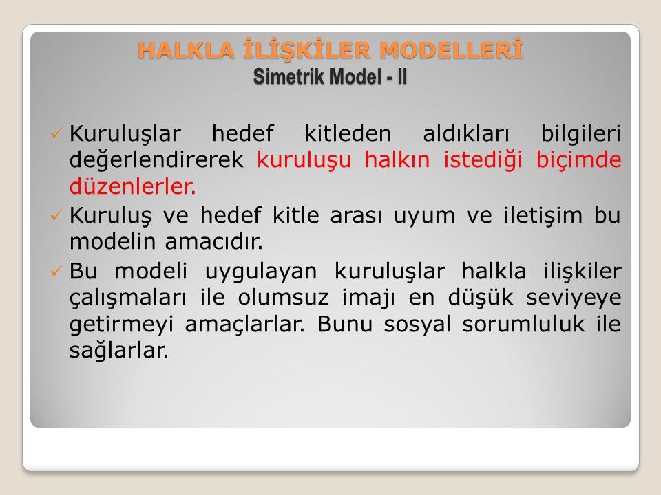 HALKLA İLİŞKİLER MODELLERİ Simetrik Model - II