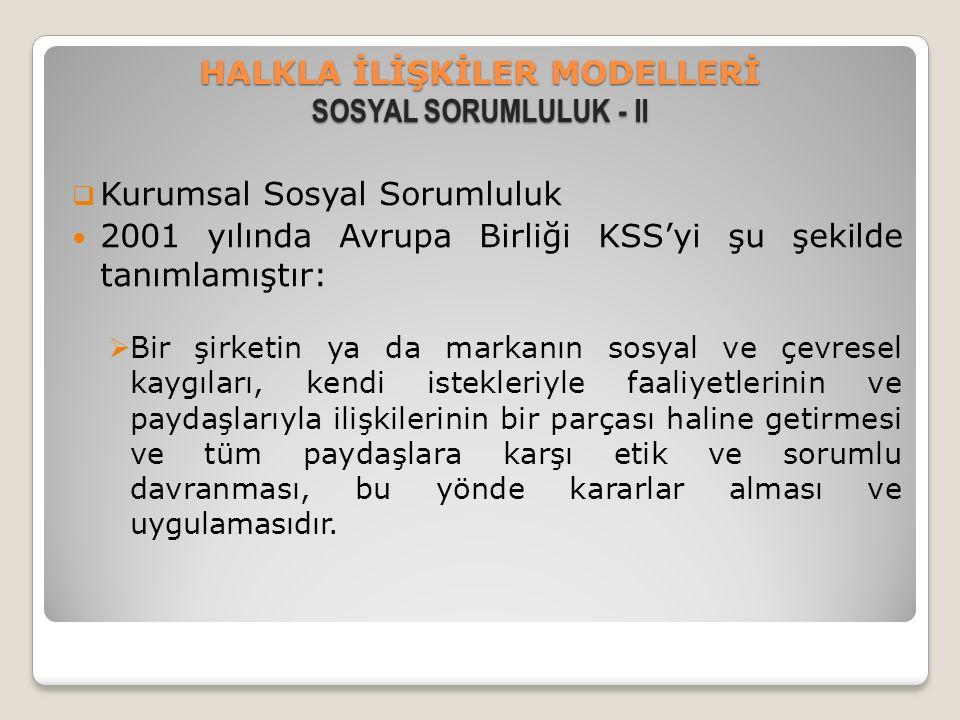 HALKLA İLİŞKİLER MODELLERİ SOSYAL SORUMLULUK - II