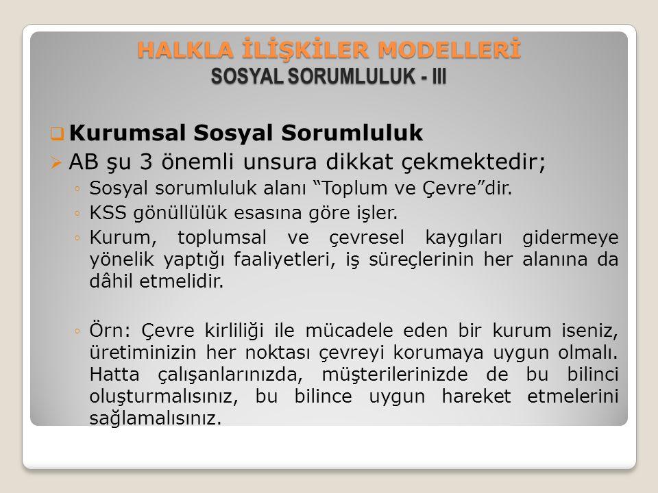 HALKLA İLİŞKİLER MODELLERİ SOSYAL SORUMLULUK - III