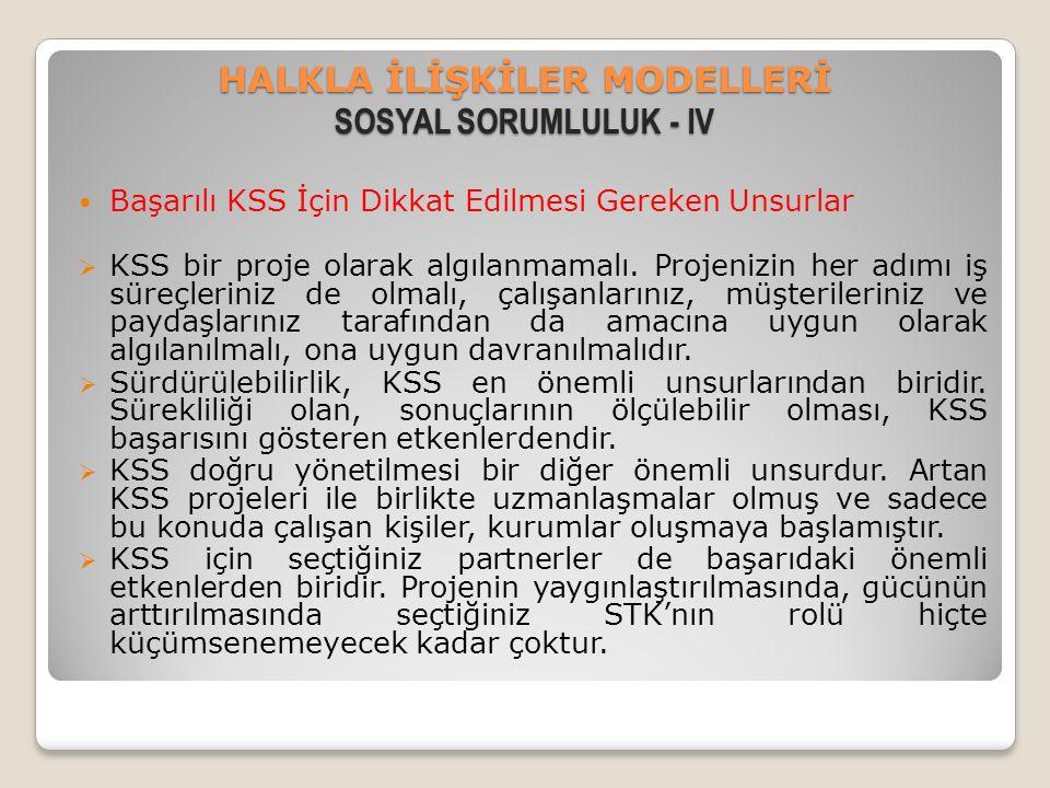 HALKLA İLİŞKİLER MODELLERİ SOSYAL SORUMLULUK - IV