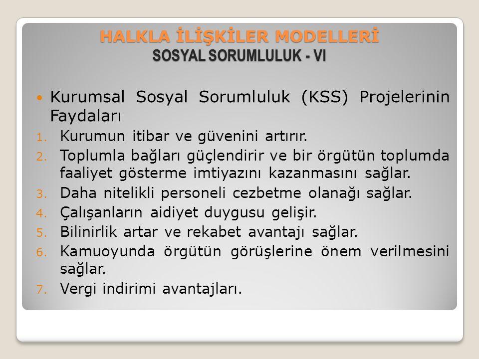 HALKLA İLİŞKİLER MODELLERİ SOSYAL SORUMLULUK - VI