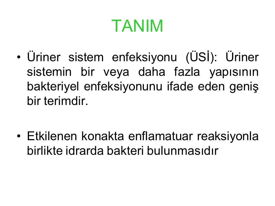 TANIM Üriner sistem enfeksiyonu (ÜSİ): Üriner sistemin bir veya daha fazla yapısının bakteriyel enfeksiyonunu ifade eden geniş bir terimdir.