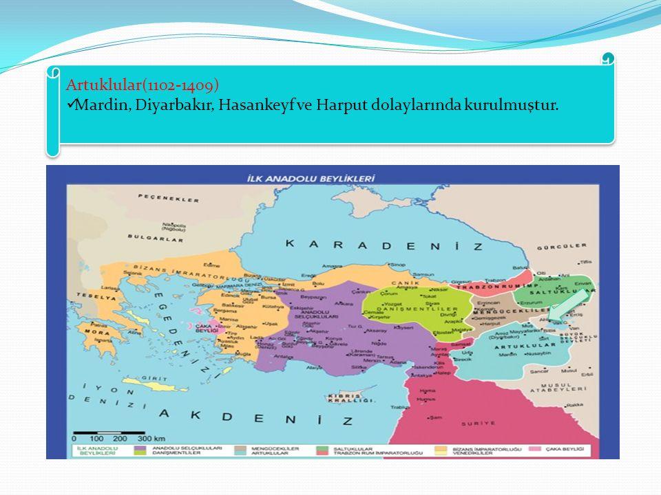 Artuklular(1102-1409) Mardin, Diyarbakır, Hasankeyf ve Harput dolaylarında kurulmuştur.