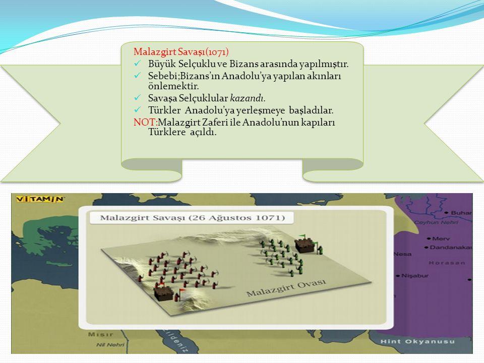 Malazgirt Savaşı(1071) Büyük Selçuklu ve Bizans arasında yapılmıştır. Sebebi;Bizans'ın Anadolu'ya yapılan akınları önlemektir.