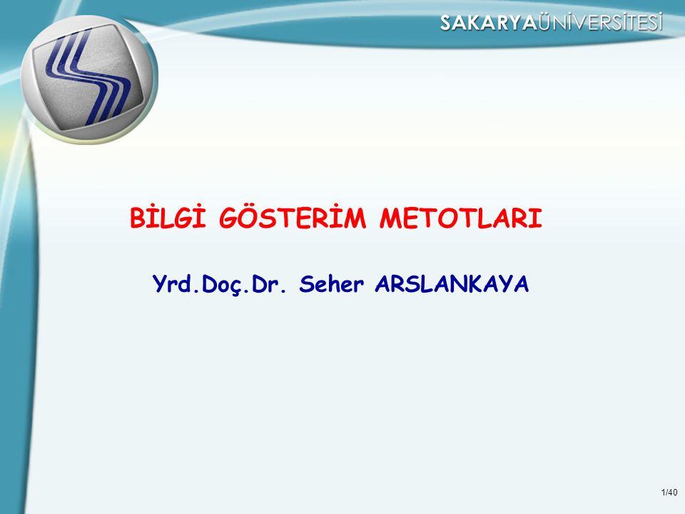 BİLGİ GÖSTERİM METOTLARI Yrd.Doç.Dr. Seher ARSLANKAYA