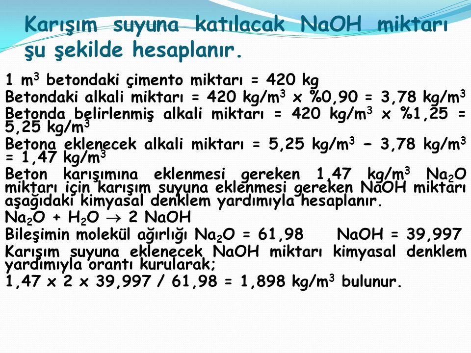 Karışım suyuna katılacak NaOH miktarı şu şekilde hesaplanır.