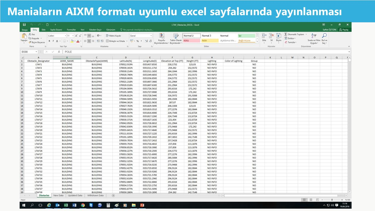 Maniaların AIXM formatı uyumlu excel sayfalarında yayınlanması