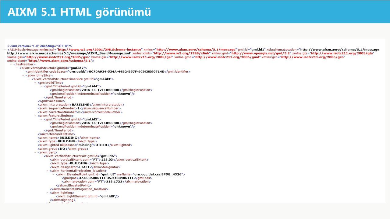 AIXM 5.1 HTML görünümü