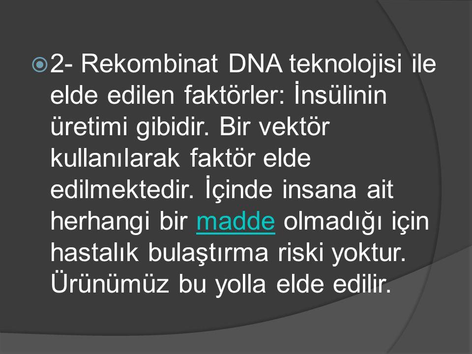 2- Rekombinat DNA teknolojisi ile elde edilen faktörler: İnsülinin üretimi gibidir.