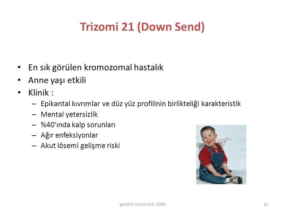 Trizomi 21 (Down Send) En sık görülen kromozomal hastalık