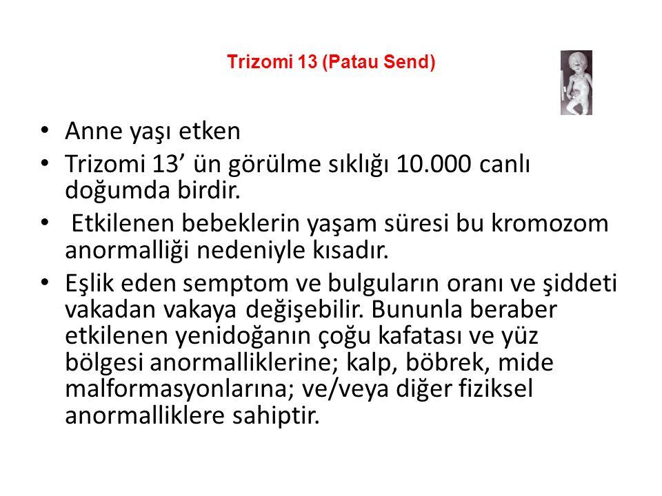 Trizomi 13' ün görülme sıklığı 10.000 canlı doğumda birdir.