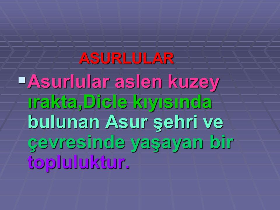 ASURLULAR Asurlular aslen kuzey ırakta,Dicle kıyısında bulunan Asur şehri ve çevresinde yaşayan bir topluluktur.