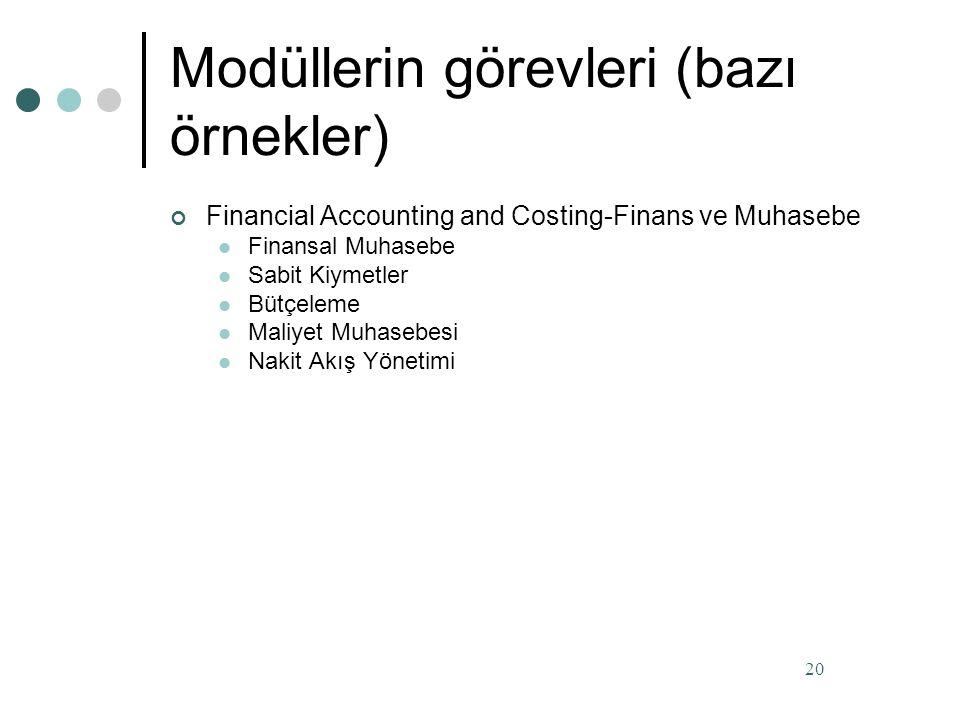 Modüllerin görevleri (bazı örnekler)