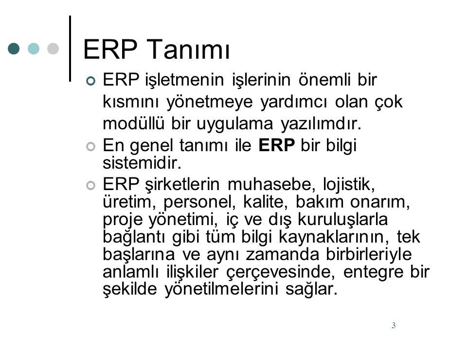 ERP Tanımı ERP işletmenin işlerinin önemli bir kısmını yönetmeye yardımcı olan çok modüllü bir uygulama yazılımdır.