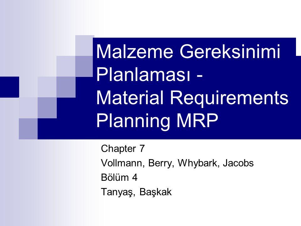 Malzeme Gereksinimi Planlaması - Material Requirements Planning MRP